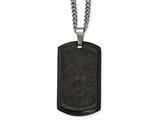 Chisel Stainless Steel Brushed Laser Cut  Black Ip Black CZ Dogtag Necklace style: SRN210324