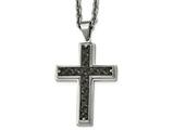 Chisel Stainless Steel Brushed/polished Black Ip Weaved Pattern Cross Necklace style: SRN210924