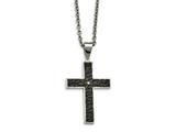 Chisel Stainless Steel Polished Black Ip Textured CZ Cross Necklace style: SRN211124