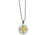 Chisel Stainless Steel Brushed/polished Yellow Ip Spanish Lords Prayer Necklace style: SRN211320
