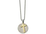 Chisel Stainless Steel Brushed/polished Yellow Ip Lords Prayer Cross Necklace style: SRN211420