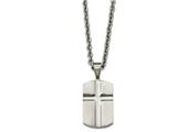 <b>Engravable</b> Chisel Stainless Steel Brushed And Polished Craved Cross Dogtag Necklace style: SRN212024