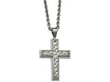 Chisel Stainless Steel Polished Weaved Pattern Cross Necklace style: SRN2123245