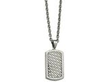 Chisel Stainless Steel Polished Weaved Pattern Dogtag Necklace style: SRN212424