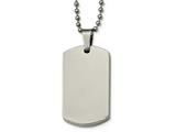 Chisel Stainless Steel Polished Rounded Edge 4mm Thick Dog Tag Necklace style: SRN213524
