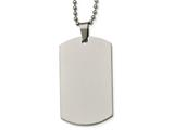 <b>Engravable</b> Chisel Stainless Steel Polished Rounded Edge 2mm Thick Dog Tag Necklace style: SRN213624