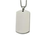 <b>Engravable</b> Chisel Stainless Steel Polished Rounded Edge 4mm Thick Dog Tag Necklace style: SRN213724