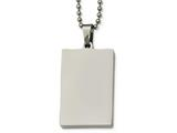 Chisel Stainless Steel Polished Squared 4mm Thick Dog Tag Necklace style: SRN214124
