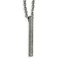 Chisel Stainless Steel Polished Cz Bar Necklace style: SRN215322