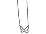 Chisel Stainless Steel Polished Cz Butterfly 2mm Necklace style: SRN217018