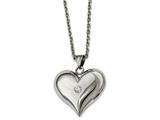 Chisel Stainless Steel Polished W/ Crystal Heart Necklace style: SRN217122