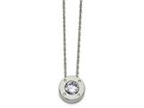 Chisel Stainless Steel Polished CZ June Birthstone Necklace style: SRN217920
