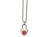 <b>Engravable</b> Chisel Stainless Steel Small Heart Medical Pendant Necklace style: SRN218024