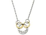 Chisel Stainless Steel Polished Yellow Ip Cz Circle Necklace style: SRN218218