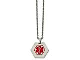 <b>Engravable</b> Chisel Stainless Steel Hexagon Shaped Medical Pendant Necklace style: SRN219020