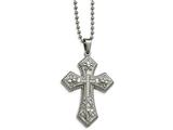 Chisel Stainless Steel Polished Cz Fleur De Lis Cross Necklace style: SRN2194225
