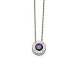 Chisel Stainless Steel Polished CZ February Birthstone Necklace style: SRN219720