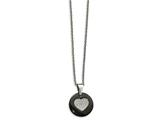 Chisel Stainless Steel Polished Black Ceramic Cz Heart Necklace style: SRN219922