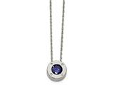 Chisel Stainless Steel Polished CZ September Birthstone Necklace style: SRN220220