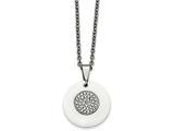Chisel Stainless Steel Polished Circle White Ceramic CZ Necklace style: SRN220322