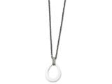 Chisel Stainless Steel Polished Tear Drop White Ceramic CZ Necklace style: SRN221422