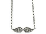 Chisel Stainless Steel Polished/textured Angel Wing 2in Ext. Necklace style: SRN221816