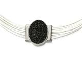 Chisel Stainless Steel Polished Blk Crystal Cotton Cord 2in Ext Necklace style: SRN222618