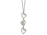 Chisel Stainless Steel Polished CZ Dangle Hearts  With 2in Ext. Necklace style: SRN223016