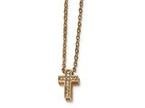 Chisel Stainless Steel Rose Ip-plated With Cz Cross W/ 2in Ext. Necklace style: SRN2231165