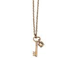 Chisel Stainless Steel Polished Rose Ip Key And Crown W/2in Ext. Necklace style: SRN2234155
