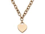 Chisel Stainless Steel Polished Rose Ip-plated W/.5in Ext. Heart Necklace style: SRN223516