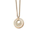 Chisel Stainless Steel Polished Rose Ip Crystal Ceramic 2in Ext. Necklace style: SRN22402775