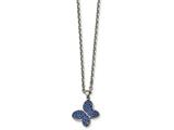 Chisel Stainless Steel Polished Blue Crystal Butterfly Necklace style: SRN224222