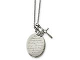 Chisel Stainless Steel Polished Serenity Prayer Cz Cross 2in Ext. Necklace style: SRN224318