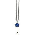 Chisel Stainless Steel Polished Blue Crystal Flower Key Necklace style: SRN224818