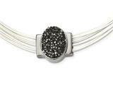 Chisel Stainless Steel Polished Grey Crystal Cotton Cord 2.5in Ext Necklace style: SRN224918