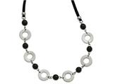 Chisel Stainless Steel Polished Leather With Black Agate 1.5in Ext. Necklace style: SRN225127