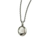 Chisel Stainless Steel Polished Hollow Puff Oval Necklace style: SRN226518
