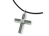 Chisel Stainless Steel CZ Cross Pendant Necklace - 18 inches style: SRN302