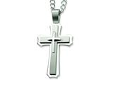 Chisel Stainless Steel Cross Pendant Necklace - 24 inches style: SRN307