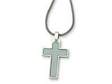 <b>Engravable</b> Chisel Stainless Steel Cross Pendant Necklace - 20 inches style: SRN308