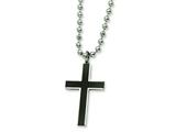 Chisel Stainless Steel Carbon Fiber Cross Pendant Necklace - 22 inches style: SRN309
