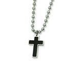<b>Engravable</b> Chisel Stainless Steel Carbon Fiber Cross Pendant Necklace - 20 inches style: SRN310