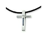 Chisel Stainless Steel Rope Accent Cross Pendant Necklace - 18 inches style: SRN312