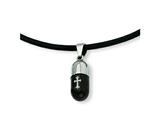 Chisel Pendant Necklace Stainless Steel Etched Black Color IP - 18 inches style: SRN330