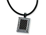 Chisel Stainless Steel Gold and Black color CZ Carbon Fiber Pendant Necklace - 22 inches style: SRN340