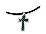 <b>Engravable</b> Chisel Stainless Steel Carbon Fiber Cross Pendant Necklace - 18 inches style: SRN344
