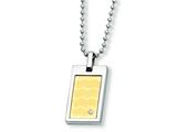 <b>Engravable</b> Chisel Stainless Steel and 18k with Diamond Necklace - 24 inches style: SRN366