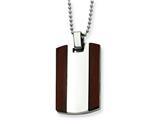 <b>Engravable</b> Chisel Stainless Steel Wood Dog Tag Pendant  Necklace style: SRN44724