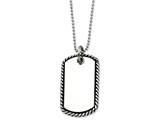 Chisel Stainless Steel Twisted Rope Edge Dog Tag Pendant  Necklace style: SRN45024